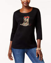 Karen Scott Petite Cotton Embellished Boots Top, Created for Macy's