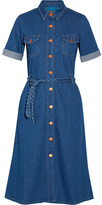 MiH Jeans Belted Stretch-denim Shirt Dress - Mid denim