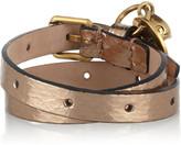 Alexander McQueen Glossed-watersnake and Swarovski crystal wrap bracelet