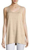 Lafayette 148 New York Scoop-Neck Linen Melange Tank, Khaki