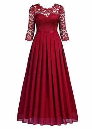 HenzWorld Women's Retro Floral Evening Gown Chiffon Lace Bridesmaid Formal Long Dress Ladies 3/4 Sleeve Slim Pleated Maxi Skirt Red Size S