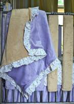 Minky Wonder Bumpers Go Mama Go Designs, Lavender and Latte Blanket with Love Petal Ruffle Trim
