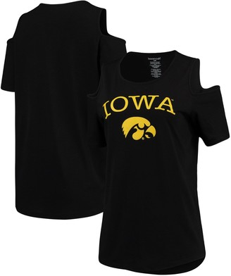 Unbranded Women's Black Iowa Hawkeyes Plus Size Cold Shoulder T-Shirt