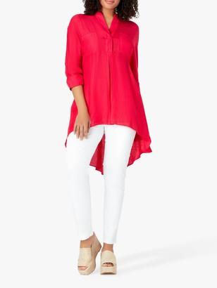 Live Unlimited Chambray 3/4 Sleeve Shirt. Fuchsia Pink