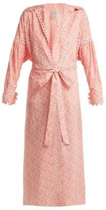 Horror Vacui Aurelia Leaf-print Cotton Maxi Dress - Womens - Red