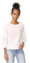 Madewell White Poplin Tiered Sleeve Top
