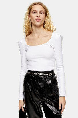 Topshop White Long Sleeve Square Neck Puff Top