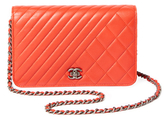 Chanel Vintage Red Chevron Quilted Wallet on a Chain (WOC)
