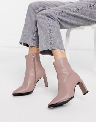 Lulu Z_Code_Z vegan heeled ankle boots in pale pink