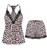 Jenize Women's Sleep Bottoms Print - Pink & Black Leopard Lace Racerback Shorts Pajama Set - Women & Plus
