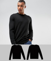 Asos 2 Pack Cotton Jumper In Black Save