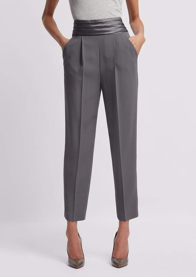 8857a9e4a3 Cadi Trousers With Darts And Pleated Band In Satin