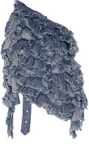 Marques Almeida Marques' Almeida Open-back ruffled cotton-chambray top