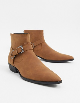 ASOS DESIGN stacked heel western chelsea boots in tan faux suede with strap
