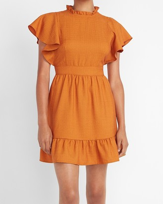 Express Ladygang Ruffle Neck Flutter Sleeve Dress