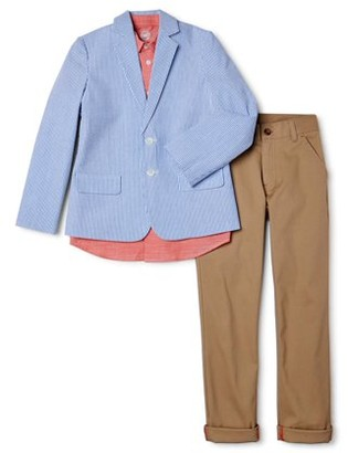 Wonder Nation Boys 4-14 and Husky Suit Set with Seersucker Blazer, Shirt and Pants, 3-Piece Outfit Set
