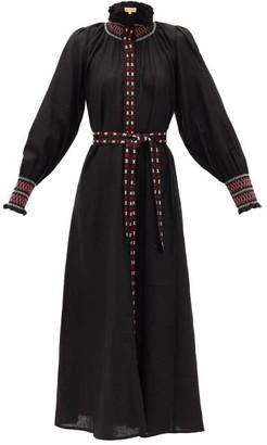Muzungu Sisters - Alice High-neck Embroidered Linen Dress - Black
