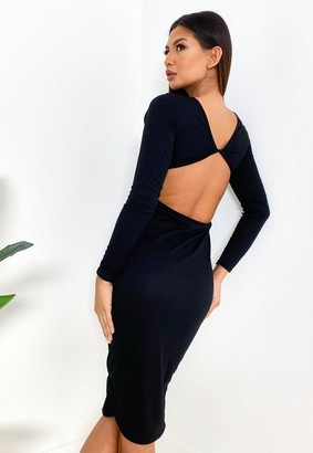 Missguided Black Rib Twist Back Midi Dress