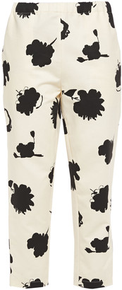 Marni Printed Cotton And Linen-blend Drill Tapered Pants