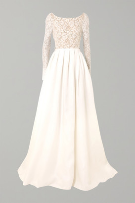 Rime Arodaky Avery Corded Lace And Silk-gazar Gown - White