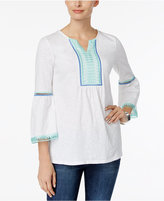 Charter Club Embroidered Bell-Sleeve Tunic, Only at Macy's