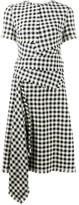 Oscar de la Renta gingham check pattern draped dress