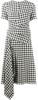 Oscar de la Renta Gingham Check Pattern Draped Dress