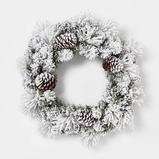 24in Unlit Mixed Pine Flocked Pinecone Wreath - WondershopTM