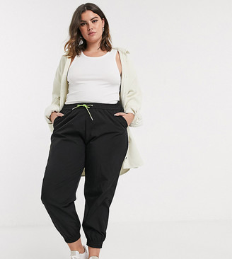 ASOS DESIGN Curve shell jogger in black