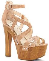 Jessica Simpson Dorrin Leather Ankle Strap Faux Wood Platform Sandals