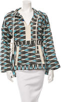 Sea Patterned Hooded Pullover Top