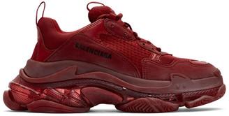 Balenciaga Burgundy Triple S Sneakers