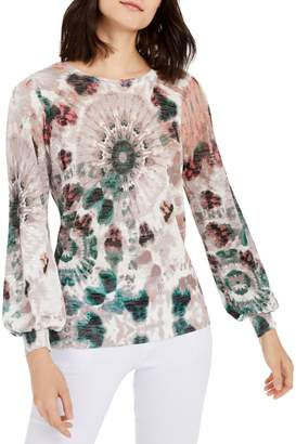 INC International Concepts Petite Relaxed-Fit Tie-Dyed Sweater