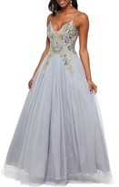 Betsy & Adam Sequin Embroidered Tulle Ballgown