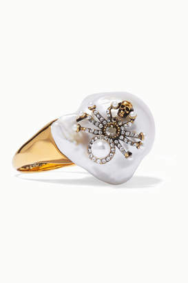 Alexander McQueen Gold-tone, Crystal And Pearl Ring - White
