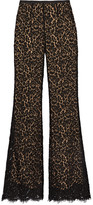 Michael Kors Corded Cotton-blend Lace Flared Pants - Black