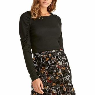Rachel Roy Womens Black Ruched Long Sleeve Jewel Neck Top UK Size:16