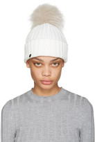 Yves Salomon White Fur Pom Pom Hat