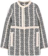 Chloé Jacquard knit coat with a false fur lining