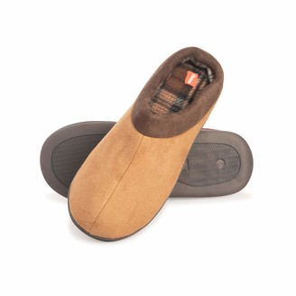 Hanes Men's Comfort Memory Foam Slip on Clog House Shoes with Indoor/Outdoor Anti-Skid Sole (Tan Size Small)