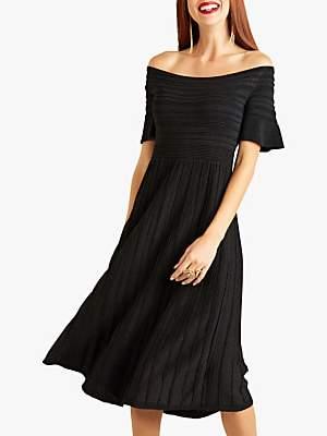 Yumi Bardot Rib Knit Dress, Black