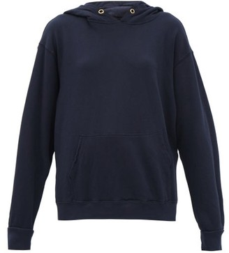 LES TIEN Brushed-back Cotton Hooded Sweatshirt - Navy