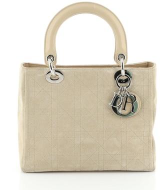 Christian Dior Lady Bag Stitched Cannage Suede Medium