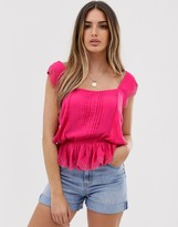 Asos Design DESIGN square neck top with ruffle broderie