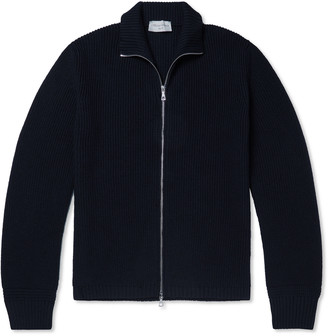 Officine Generale Ribbed Merino Wool Bomber Jacket