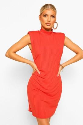 boohoo Rib Shoulder Pad High Neck Shift Dress
