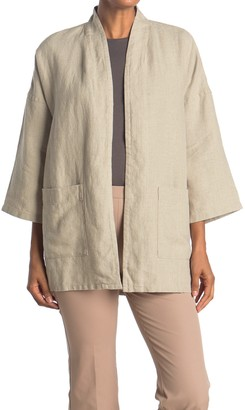 Eileen Fisher Linen 3/4 Sleeve Jacket