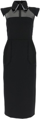 Fendi Tonal Mesh Tube Gabardine Dress
