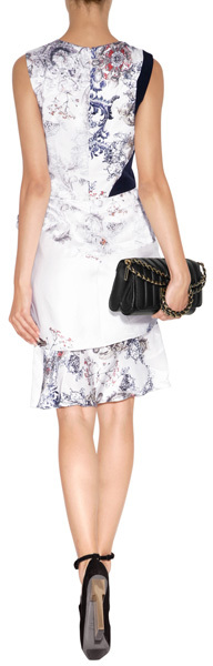 Prabal Gurung Silk Dress in Ivory Baroque Print