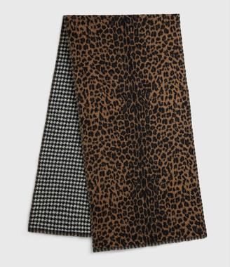 AllSaints Reversible Leopard Wool Blend Scarf